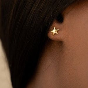 14K Gold Plated Star Stud Earrings - Yellow Gold